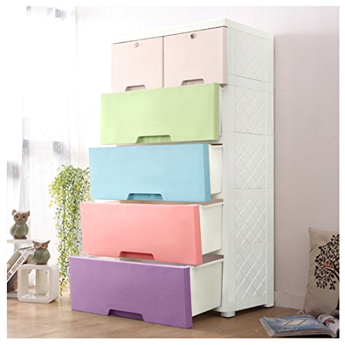 YUTING Kids Closet storage cabinet with 4 Drawers and 2 Storage Cabinets, Easy-To-Assemble Plastic Thicker Clothes Closet (Storage Cabinets For Kids)