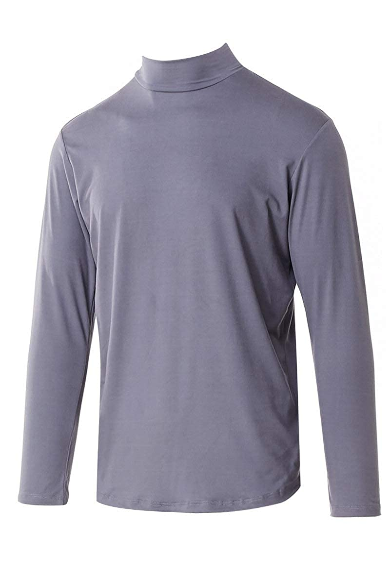 Neovic Mens Athleisure Ultra Soft Knit Yoga Longsleeve Base Layer Casual Solid Mock Neck Top S-2XL M10003