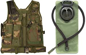 Ultimate Arms Gear Woodland Camo Camouflage Lightweight Edition Tactical Scenario Military-Hunting Assault Vest w/ Right Handed Quick Draw Pistol Holster + OD Olive Drab Green 2.5 Liter / 84 oz. Replacement Hydration Backpack Water Bladder Reservoir - Includes Hosing And Hands Free Bite Valve