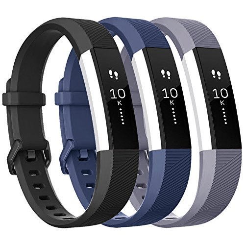 Vancle for Fitbit Alta HR/Ace Bands and Alta Bands, Adjustable Replacement Accessories Wristbands for Fitbit Ace/Alta and Alta HR, Black Blue Gray, Large