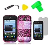 zte reef phone accessories - Pink Exotic Skin Phone Case Cover Cell Phone Accessory + Yellow Pry Tool + Screen Protector + Stylus Pen + EXTREME Band for ZTE Savvy Z750c / ZTE Reef N810