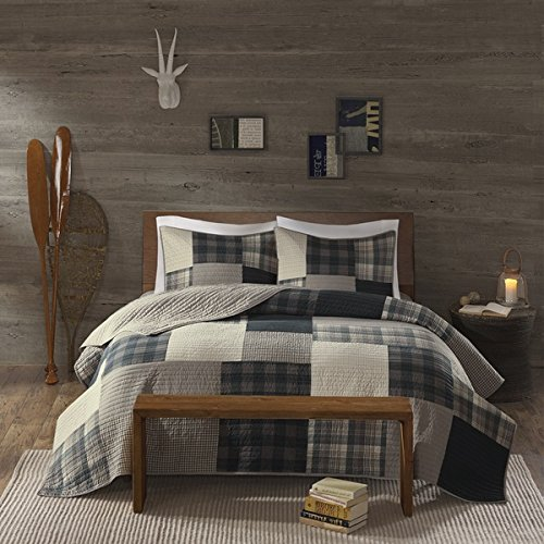 Cottage Plaid Quilt - 3 Piece Light Grey Brown Plaid Quilt Full Queen Set, Madras Tartan Lumberjack Pattern Cabin Bedding Lodge Patchwork Gray Solid Color Hunting Themed Cottage Beige, Cotton