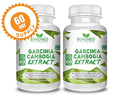 Sundhed Natural Garcinia Cambogia Extract (120 Garcinia Cambogia Capsules) - Appetite Suppressant Weight Loss Supplements that Support Healthy Weight and Curb Cravings - 100% Natural HCA Extract