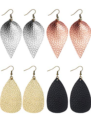 Chuangdi 4 Pair Faux Leather Earrings Set 2 Pair Leather Teardrop Earrings and 2 Pair Leather Petal Earrings for Women and Girl (Black, Bright Gold, Silver, Rose Gold)