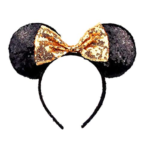WLFY Mickey Mouse Minnie Mouse Sequin Ears Headbands Butterfly Glitter Hairband (Black -