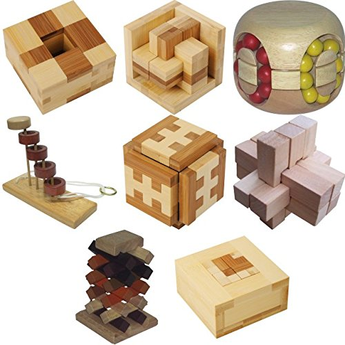 .Level 10 - a set of 8 wood puzzles