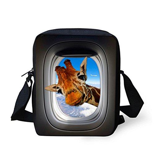 Mumeson Funny Giraffe Print Polyester Cloth Messenger Bag Mini Sport Outdoor Crossbody Bag