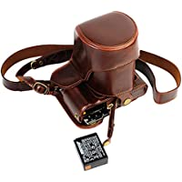 Full Protection Bottom Opening Version Protective PU Leather Camera Case Bag For FUJIFILM Fuji X Series X - T20, X - T10 16 - 50mm Lens with Shoulder Neck Strap Belt Dark Brown