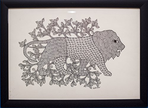 Original Handpainted Framed Gond Tribal Painting- Mighty Lion