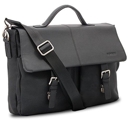 Bovari Black Messenger Bag Laptop-Tasche Herren Aktentasche 39x30x10 cm Model Lyon- echt Leder - Limited Premium Edition