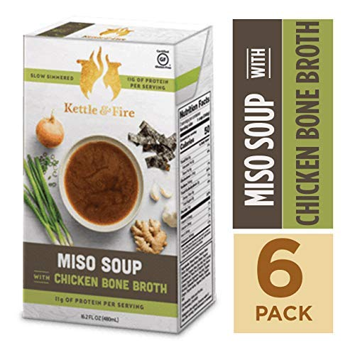 Miso Soup with Chicken Bone Broth by Kettle and Fire, Pack of 6, Paleo Diet, Gluten Free Collagen Soup on the Go, 11g of protein, 16.9 fl oz (Best Miso Soup Recipe)