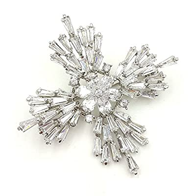 Old European Stylish Silver Tone Baguette Cut Cross Brooch for Winter Jewerly