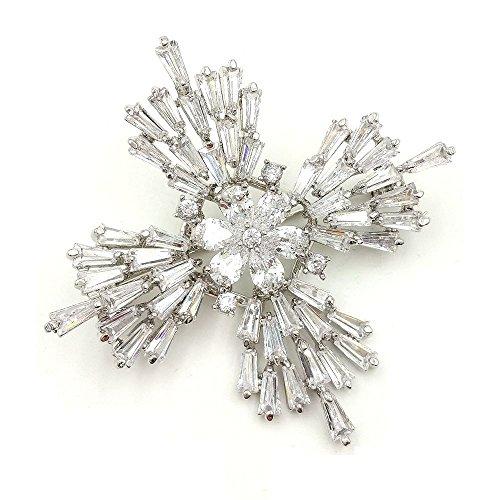 DREAMLANDSALES Old European Stylish Silver Tone Baguette Cut Cross Brooch for Winter Jewerly - Maltese Cross Shape