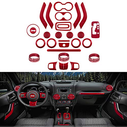 Fit Jeep Wrangler 28 PCS Interior Decoration Trim Kit Door Handle & Cup Cover, Steering Wheel & Center Console Trim, Gear Frame, Air Outlet & AC Ring Cover Fit JK JKU 2011-2018 2&4-Door (Dark Red) (Jeep Wrangler Interior Trim)