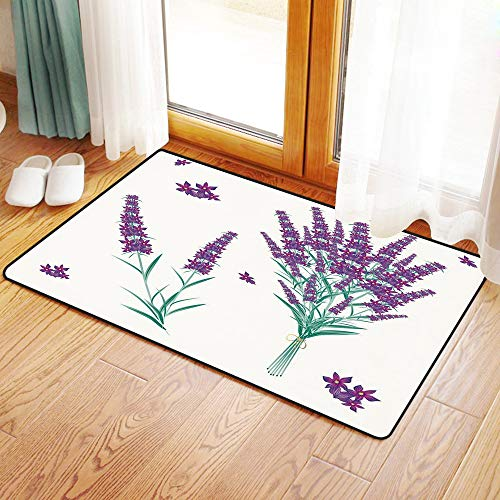(Non-Slip Mat Microfiber Bathroom Rug Shower Mat, Lavender,Aromatic Blossoms Bouquet from Provence France Fragra, Ultra Soft and Water Absorbent Bath Rug,Machine Wash/Dry 16x 24 inches)
