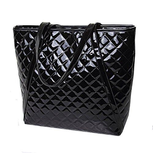 - CLARA Women Basic Fashion Tote Bag Geometric Pattern Handbag Large Capacity Patent Leather Shoulder Bag Black