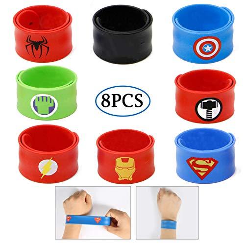 Slap Bracelets for Kids Party Supplies Favors Boy's Wristband Accessories Wrist Strap Gift Supplies (8-Pack) -
