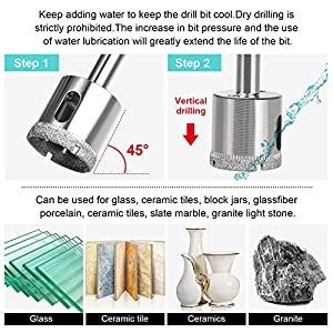 Hole Saw Set,15Pcs Diamond Drill Bits with Hole Saw Guide Jig Fixture,Coated Core Drill Bits, Adjustable Hole Saw Centering Locator Suction Holder for Glass,Ceramics,Tile 6-50mm