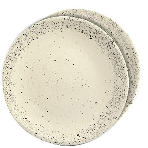 RoRo 8 Inch Ceramic Stoneware White/Cream Speckled Appetizer Plate Set of -