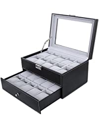 SONGMIC Watch Box 20 Mens Case Glass Top Black Display Organizer Lockable UJWB006