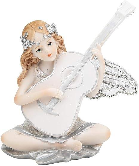 Statuetta in resina da tavolo con decorazione carina Scultura in resina Artigianato Regalo per bambini per le donne Fata che suona la chitarra Statuetta Fata