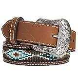Nocona Boy's Multi Color Embroidered Belt, Brown, 22
