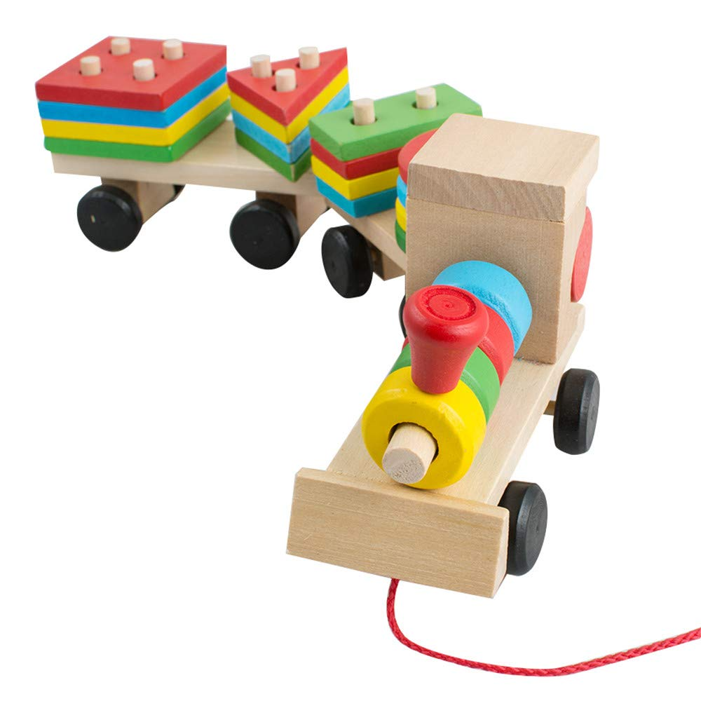 TechCode Children Toy Wooden, Wooden Colorful Kids Educational Toys Early Education Pairing Geometric Combinations Cute Three Trains DIY Building Block Children Learning Toy Set for Boys Girls