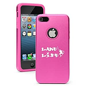 Apple iPhone 4 4s Aluminum Silicone Dual Layer Hard Case Cover Lake Life Wakeboard Wakesurf (Hot Pink)