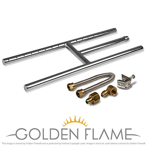 "18"" x 6"" (Natural Gas) Fire Pit and Fireplace H-Burner (304 Series SS) w/connection kit"