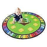 USTIDE Round Alphabet Kids Rug Playmat Vibrant Educational Area Rug Learning Carpet 3'9'