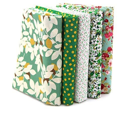 (RayLineDo 5X Different Pattern Green 100% Cotton Poplin Fabric Fat Quarter Bundle 46 x 56cm (Appox 18