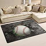 Naanle Sport Area Rug 3'x5', Baseball Polyester Area Rug Mat for Living Dining Dorm Room Bedroom Home Decorative