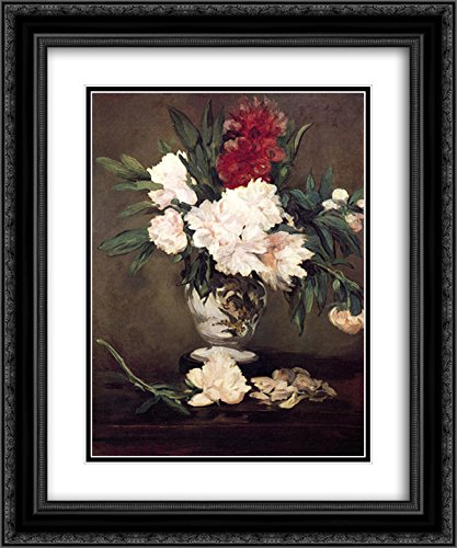 Edouard Manet 2X Matted 20x24 Black Ornate Framed Art Print 'Vase of Peonies on a Small Pedestal'