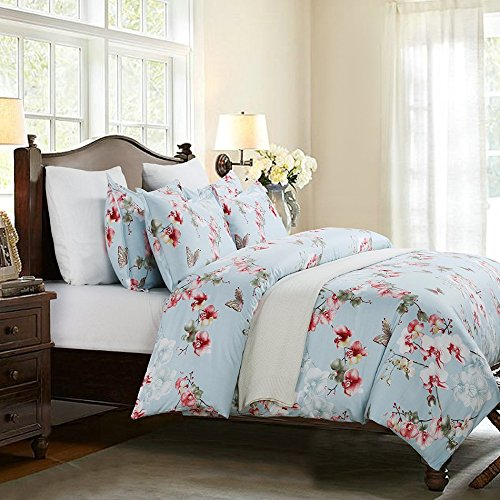 Vaulia Lightweight Microfiber Duvet Cover Set, Floral Pattern Design, Blue - Queen Size