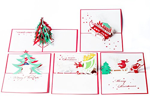 Christmas Pop Up Cards. This set of 3d Greeting Cards are a perfect way to Say Thank You (5 Pack Christmas- Assorted)