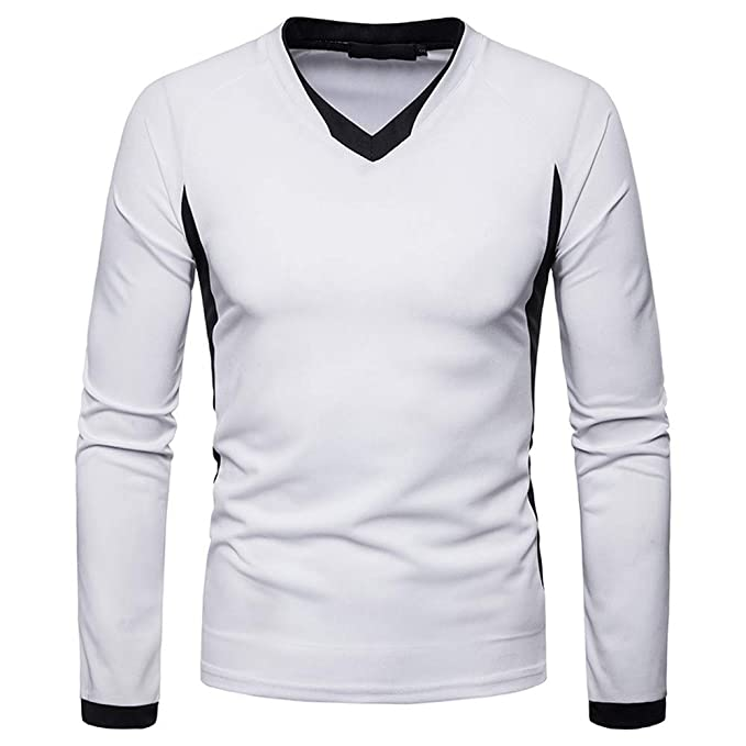 Amazon.com: Easytoy Mens Slim Patchwork V Neck Long Sleeve Tee Shirt Top: Sports & Outdoors