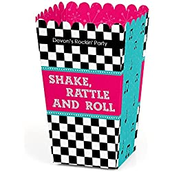 Big Dot of Happiness Personalized 50's Sock Hop - Custom 1950s Rock N Roll Party Favor Popcorn Treat Boxes - Set of 12