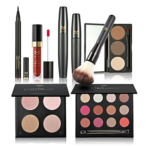 FantasyDay 7Pcs Pro Makeup Gift Set Makeup Bundle Essential Starter Makeup Kit Includes Pressed Powder Foundation, Eyelash Cream, Eyeshadow, Eyebrow Powder, Lip Gloss Stick, Eyeliner Pen, Blush (Bundle Set)