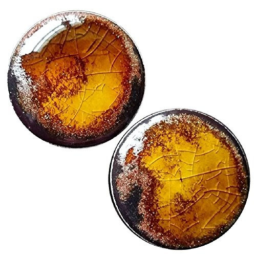Nautilus 3 Piece (Pair - Amber Gold Flake Glass Ear Plugs Organic Copper Adventurine Handmade double-flared gauges (10mm 00g))