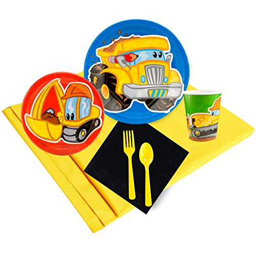 Construction Pals Childrens Birthday Party Supplies - Tableware Party Pack (24) -