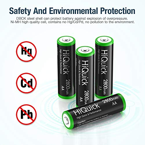 HiQuick 16 x AA Batteries, Rechargeable 2800mAh Battery, Ni-MH 1200 Recycle Times, High Capacity Performance, Pack of 16 with 4 Cases