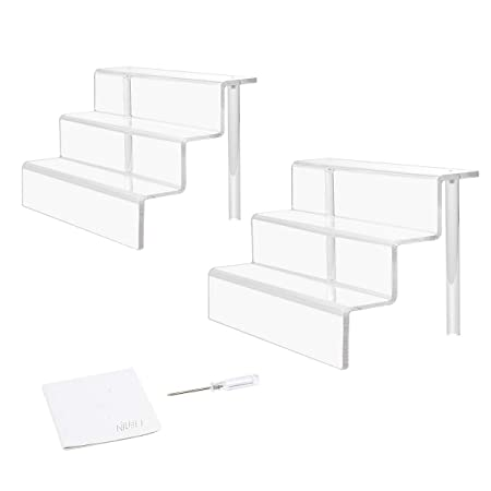 NIUBEE 2 Pack Acrylic Riser Display Shelf for Amiibo Funko POP Figures, Cupcakes Stand for Table,Cabinet, Countertops – 3-Tier, Clear 12 8.75
