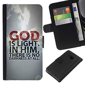 EJOY---La carpeta del tirón la caja de cuero de alta calidad de la PU Caso protector / HTC One M9 / --BIBLIA Dios es luz