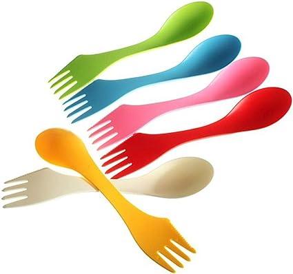 YFairy Vajilla multifuncional – 6 piezas/set 3 en 1 cuchara tenedor cuchillo juego de cubiertos mezclado color dulce dulce portátil utensilios de ...