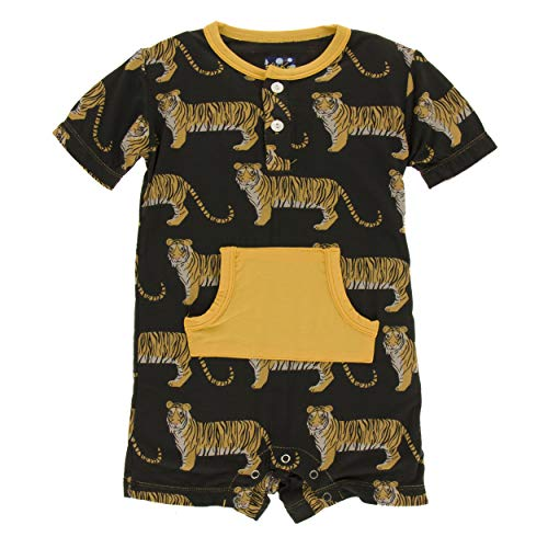 Kickee Pants Little Boys Print Short Sleeve Kangaroo Romper - Zebra Tiger, 6-12 Months