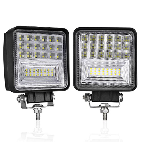 126 Lamp - LED Pods, DJI 4X4 2Pcs 4 Inch 126W Off Road Driving Lights Square LED Fog Light CREE Spot Flood Combo Beam LED Cubes Work Lamps for Trucks Jeep Heavy Duty ATV UTV SUV Boat, 2 Years Warranty
