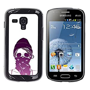 Shell-Star Arte & diseño plástico duro Fundas Cover Cubre Hard Case Cover para Samsung Galaxy S Duos / S7562 ( Purple White Skull Scarf Protesting )
