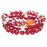 Modern Fashion Crystal Rhinestone Stylish Beaded Stretch Bracelet B420 Red