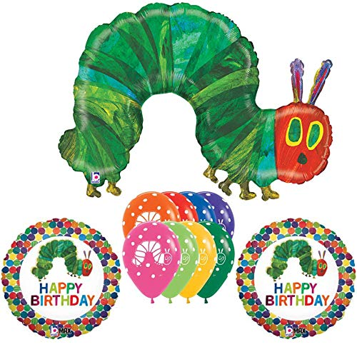 Very Hungry Caterpillar Birthday Party Decoration Balloon Bundle, Includes 11 Balloons -