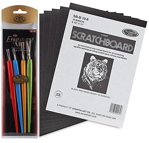 Scratchboard Artists Tools Drawing Pack - Black Coated 8 1/2 x 11 boards 10 Sheets with Scratch Metal Tools / Pen art bundle Art Scraper Tools, 4-Pack 1Art Tools